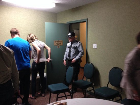 Travelodge Winnipeg East: Guard that made all of us feel very unwelcome at the Travel lodge - alpine rd - winnipeg