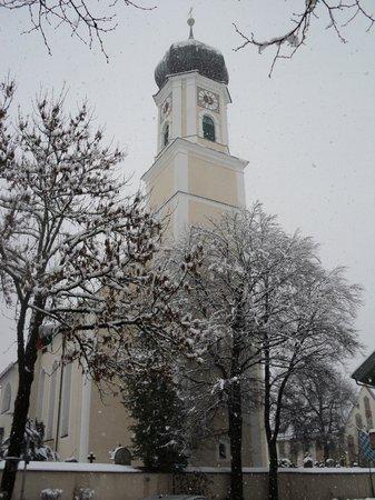 Oberammergau Church: la cúpula en forma de cebolla verde
