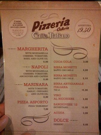 Osteria del Caffè Italiano : Menu