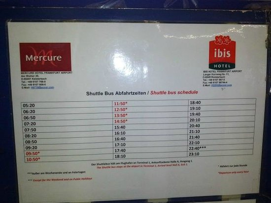 Mercure Hotel Frankfurt Airport: Shuttle bus timetable as of December 2013