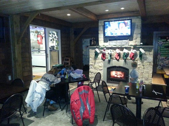 The Blue Donkey : The sit-down area is cozy with real fire. Family friendly too.
