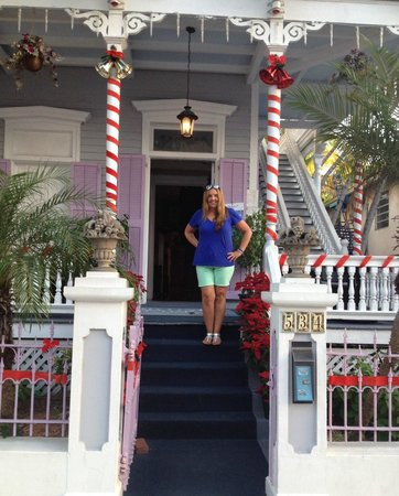 Artist House: Front steps off of Eaton Street. With holiday decor!