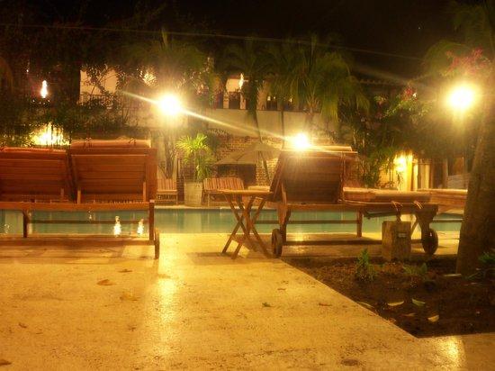 Hotel Mariscal Robledo: en la piscina de noche