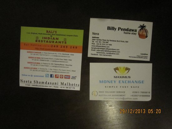 Billy Pendawa Homestay: Food,Currency & Address