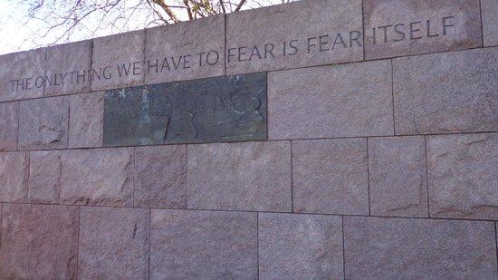 Franklin Delano Roosevelt Memorial: a famous sentence