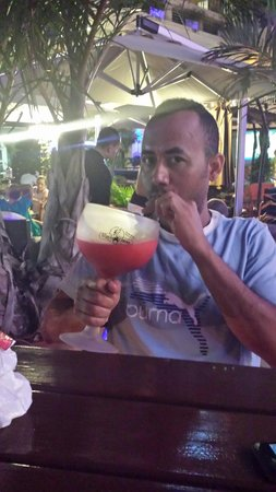 Tequila Chicas: 22 oz strawberry margarita. ...YUMMY with a souvenir cup