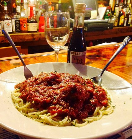 Hard Times Cafe : Try one of our pasta dishes featuring our delicious marinara sauce and a glass of New York State