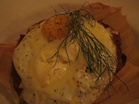 The Love Apple: mole tamale topped with fried egg