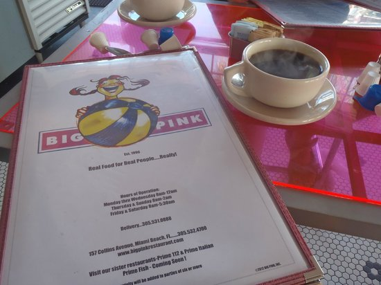 Big Pink Menu and coffee