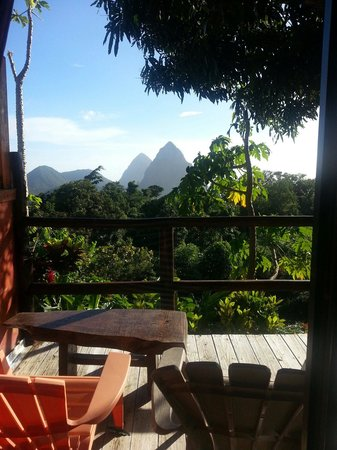 Crystals St Lucia: Piton and jungle view from our favourite, Calabash.