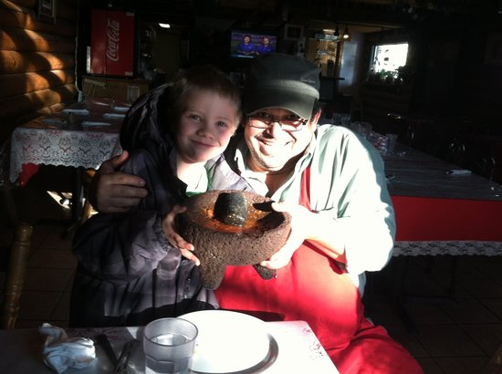 Mario's Mexican Restaurant: Mario and My Son Making Fresh Salsa