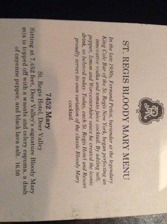 St. Regis Bar at Deer Valley: must get