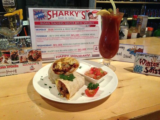 Sharky's Bar and Grill 1: Sharky's Breakfast Burrito served with pico de gallo and sour cream
