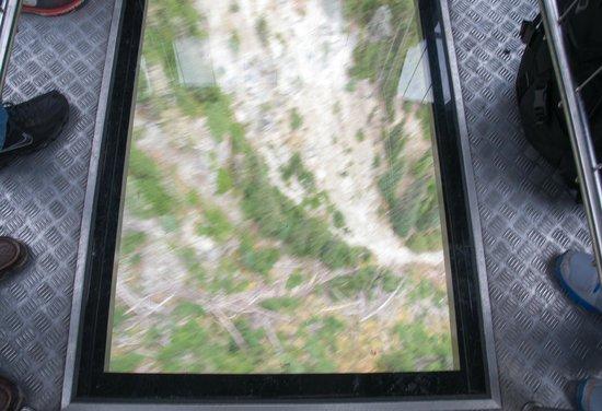 Peak 2 Peak Gondola: View thru glass floor gondola Peak to Peak Blackcomb Whistler
