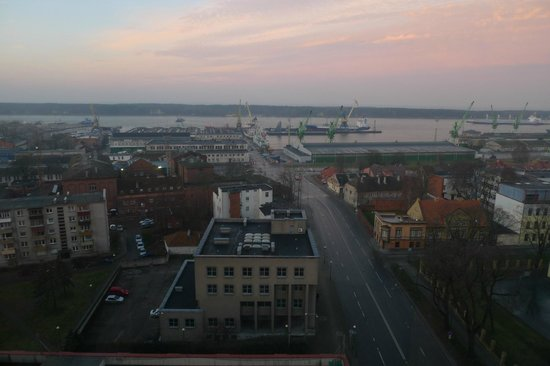 Amberton Klaipeda : View of port, Curonian Spit and the sea from 13th floor