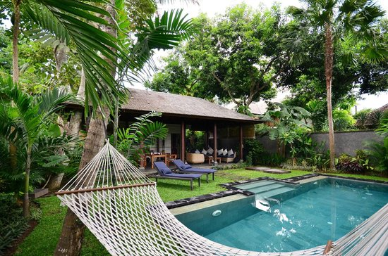 Mango Tree Villas: view from Hammock beside the pool