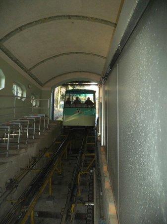 Merkur Mountain: The funicular train arriving.