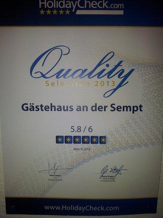 Gästehaus an der Sempt: The rating