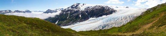 Harding Ice Field Trail: zicht van halfweg de klim