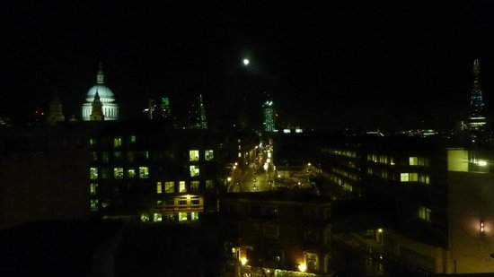 Crowne Plaza London - The City : Night time view from hotel room 702 with St Pauls dome