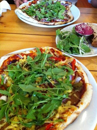 Mono Cafe Bar: Cheese and salami pizza with a beetroot dip on the side