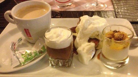 La Cote a l'Os: Coffee and pudding selection