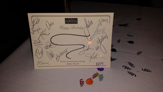 The Capital Grille: Signed birthday card