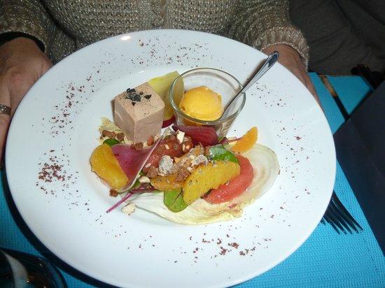 Le Dix-Huitieme : Entrée à base de foie gras et d'agrumes