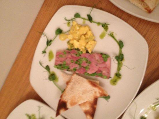 Queen's Hotel : Ham hock &pea terrine .piccalilli, from Christmas menu