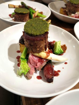 Dragon Lodge : Duo of Lamb. Confit lamb steak, slow roasted lamb rack, potato fondant, sweet garlic puree...