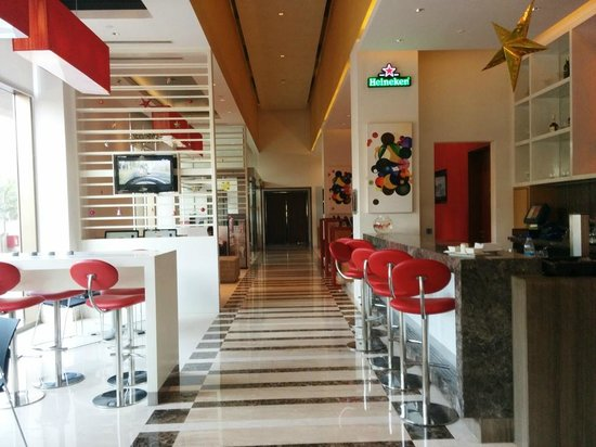 Ibis Nashik : View from breakfast table of the bar and main entrance