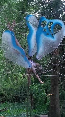 Goblin's Cove: Enormous fairy caught in a spiders web next to sandpit
