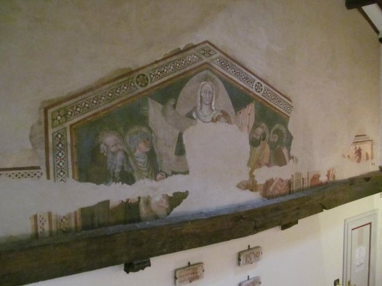 Hotel San Michele: 12th century mural in our room