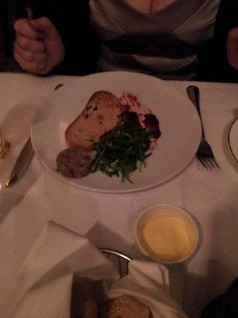 The Saddle Room Restaurant: Tiny portion of duck terrine (small round thing!)