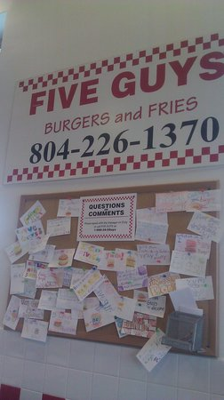 Five Guys wall of customer comments