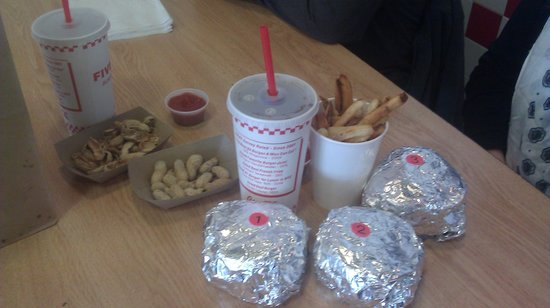 Five Guys: the burgers in the order are numbered according to which was ordered first