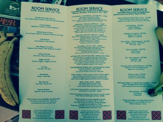 Room Servive Menu  Only The First Page Is Availiable To