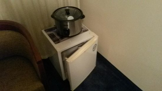 Hotel Theresia: Rice cooker and empty fridge