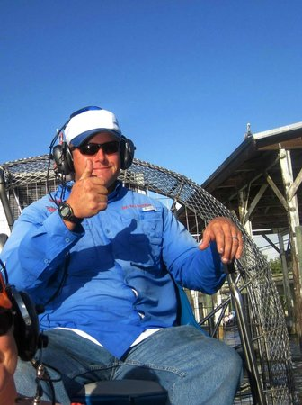 Everglades City Airboat Tours: Captain Gary at the controls.