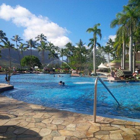 Marriott's Kaua'i Beach Club: The pool from a poolside chair.