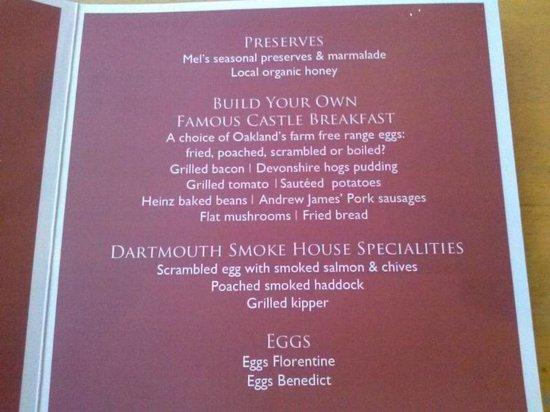 Royal Castle Hotel: breakfast menu
