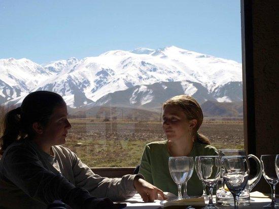 Estancia La Alejandra: Vista de los Andes desde el restaurant de la posada