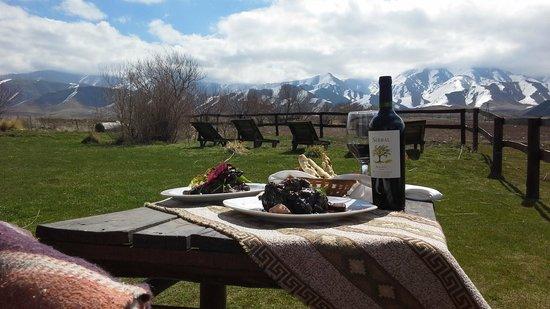 Estancia La Alejandra: Disfrutar de una buena comida y el buen vino en el deck!