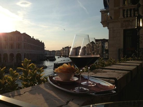 Wine on the Balcony of Al Ponte Antico Hotel overlooking Grand Canal