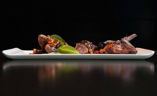 Restaurant 17: Grilled Quail with Romesco Sauce, Dried Figs and Hazelnut.
