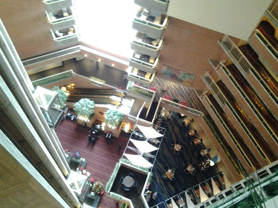 Hyatt Regency Cambridge Overlooking Boston Hotel Lobby From Elevator