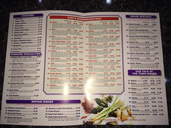 Stroud, UK: Bengal Balti Menu (Dishes)
