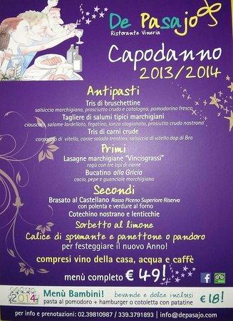 De Pasajo Dal Marchigiano: menù di capodanno 2013/2014