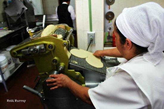 Fonda el Refugio: Making tortillas from scratch in the kitchen