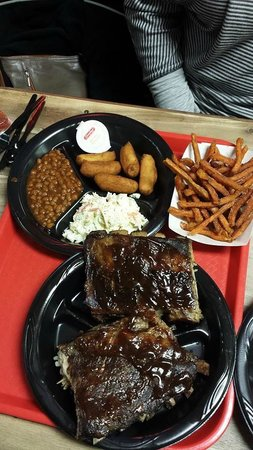 Pigman's Bar-B-Que: Ribs, beans, slaw, sweet potato fries and hush puppies